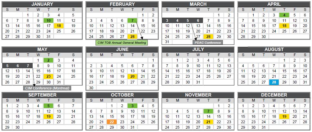 Events Calendar 2019 | CIM Toronto Branch